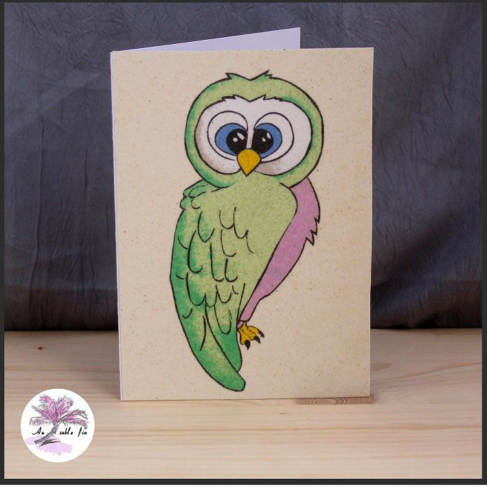 Carte en sable -  Hibou