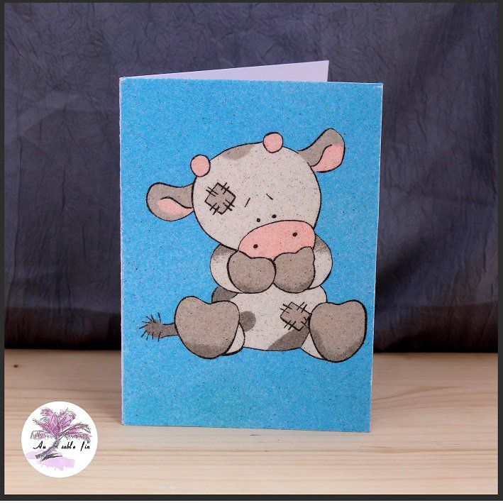 Carte en sable - Vache
