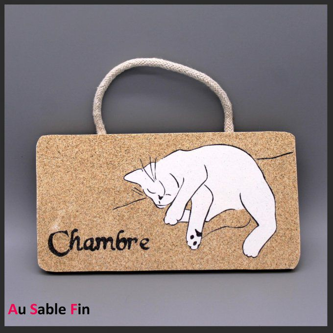 Plaque de porte en sable  - Flocon le chat