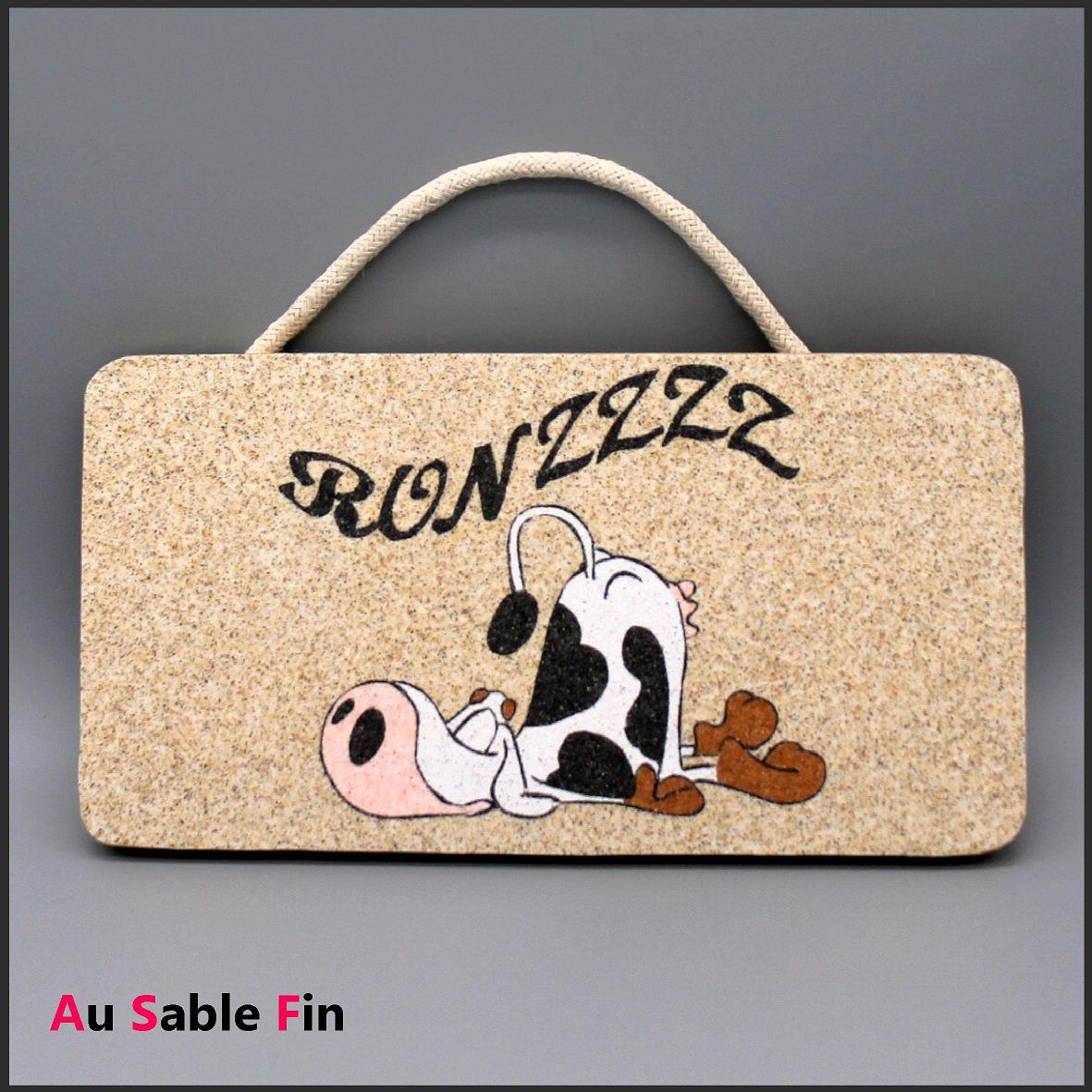 Plaque de porte en sable  - Vache